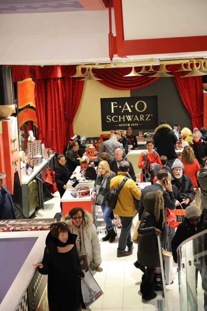 long lines inside FAO Schwarz NYC