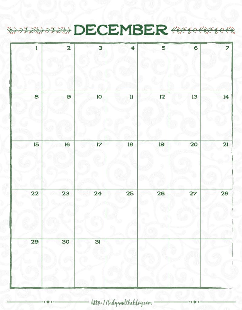 December calendar month