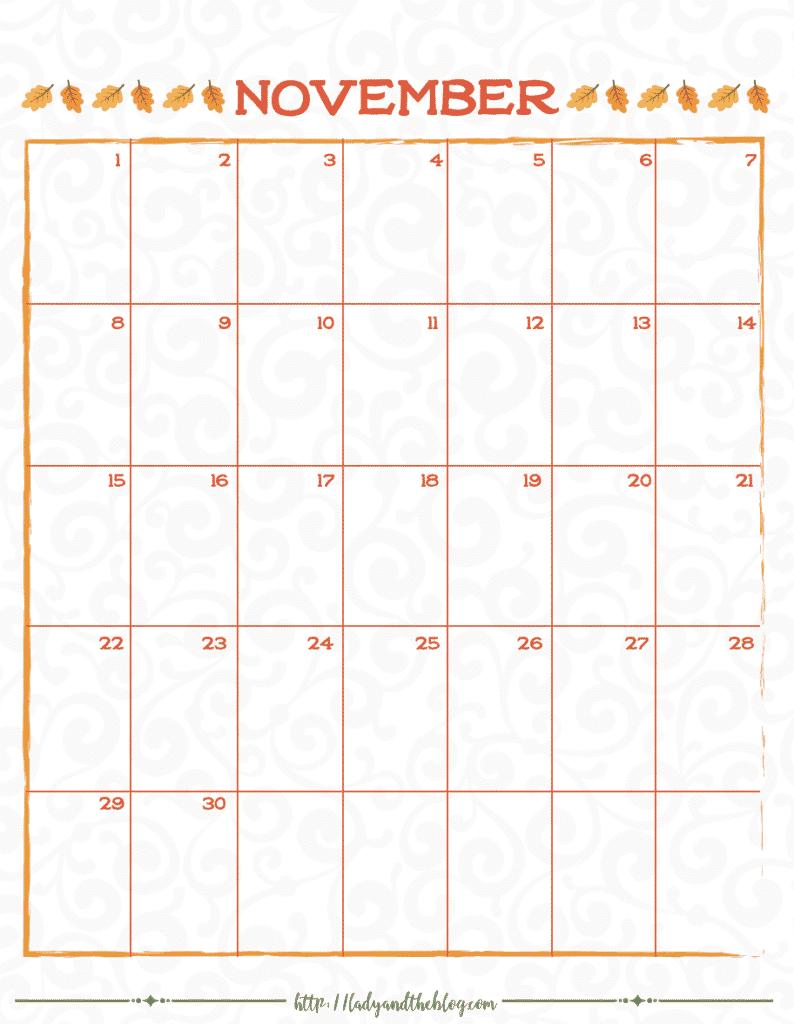 November Calendar Month