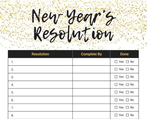 New Year's Resolution List - Free Download