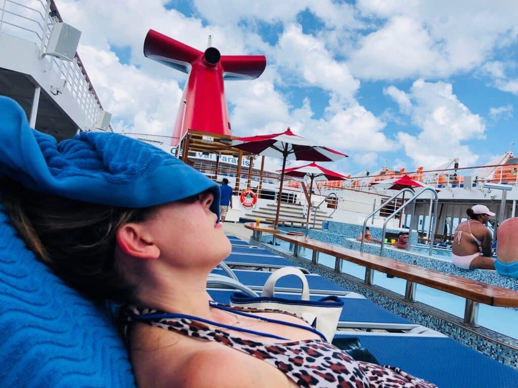 vera sweeney bathing suit carnival cruise pool deck