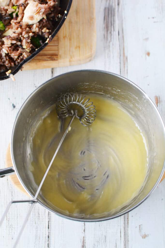 melting butter for creamy chicken casserole