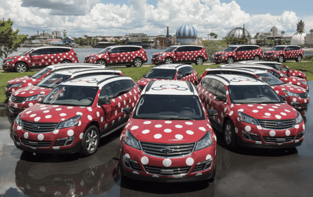 Minnie Mouse themed Disney van
