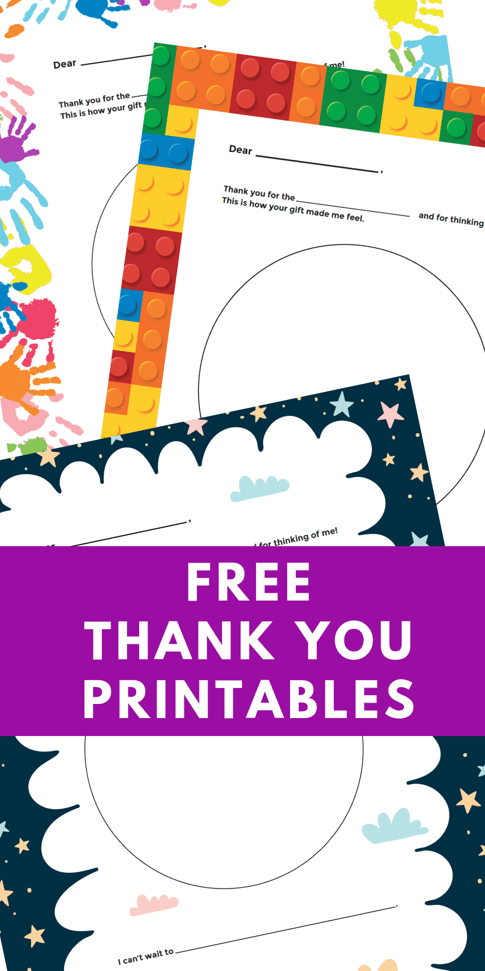 This is a picture of Epic Free Printable Thank You Cards for Kids