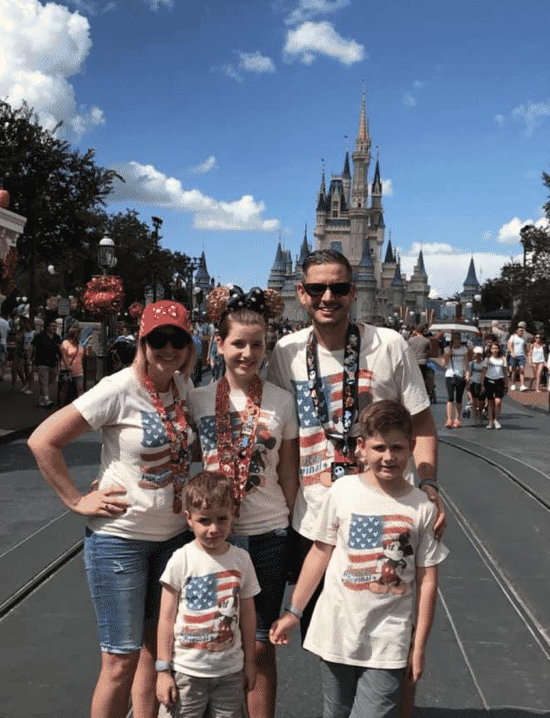 American Flag Shirt Disney Castle Family Photo