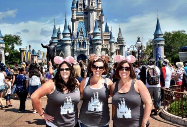 Moms on vacation in front of Disney Castle