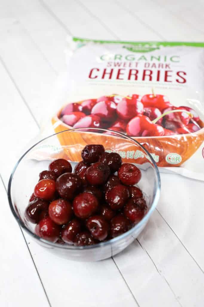 organic frozen cherries in a bowl