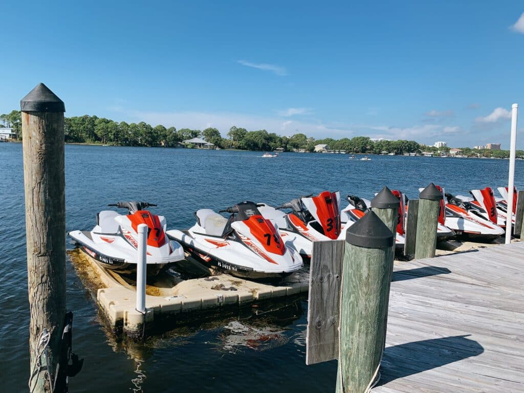 jet skis lined up at dock