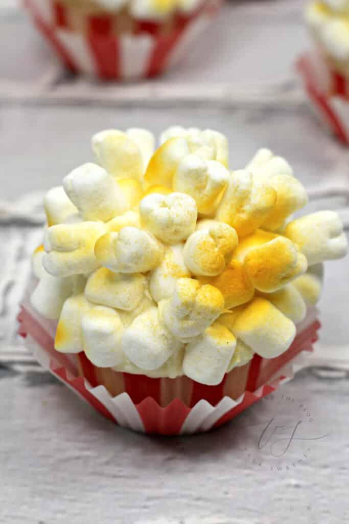 sprayed marshmallows to look like popcorn