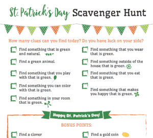St. Patrick's Day Scavenger Hunt Printable