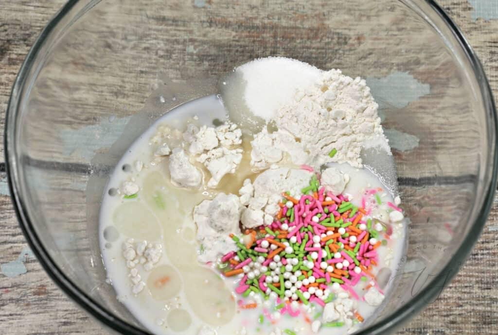 Mug Cake ingredients in bowl to mix
