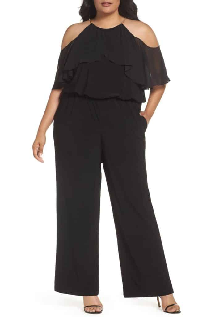 XSCAPE Chain Neck Cold Shoulder Jumpsuit (Plus Size