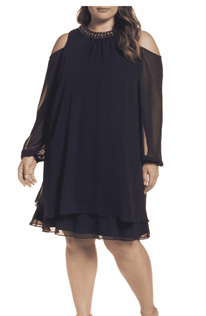 XSCAPE Embellished Cold Shoulder Shift Dress (Plus Size)