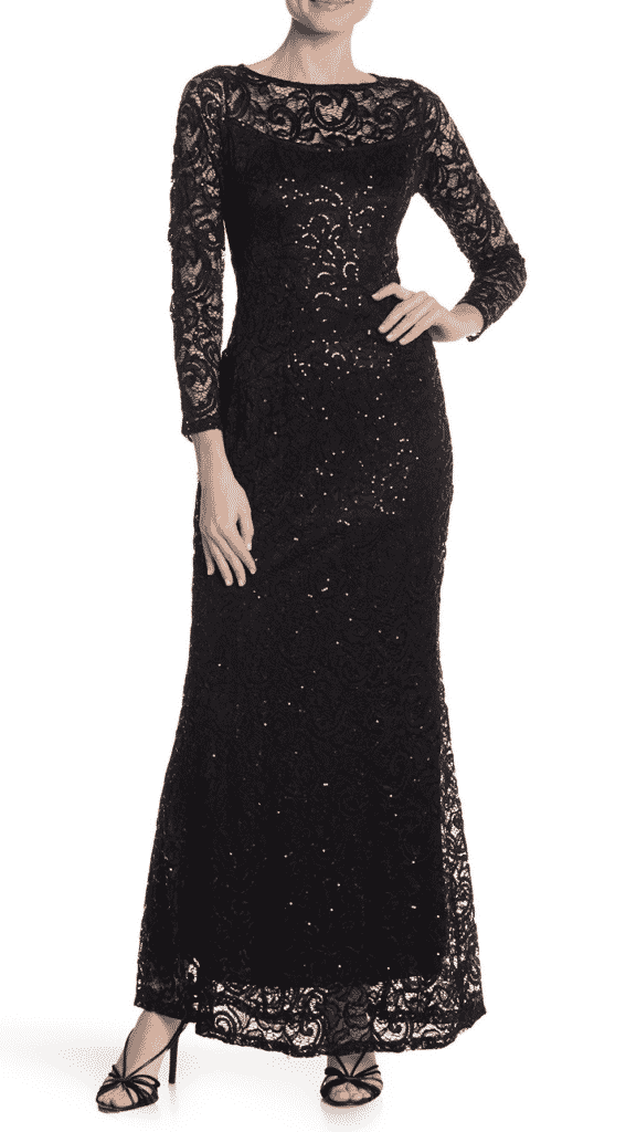 MARINA | LACE SEQUINED LONG SLEEVE DRESS