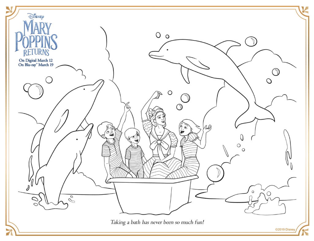 Mary Poppins Returns Bath Tub Scene Coloring Pages