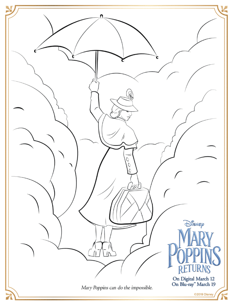 Mary Poppins Umbrella Coloring Pages
