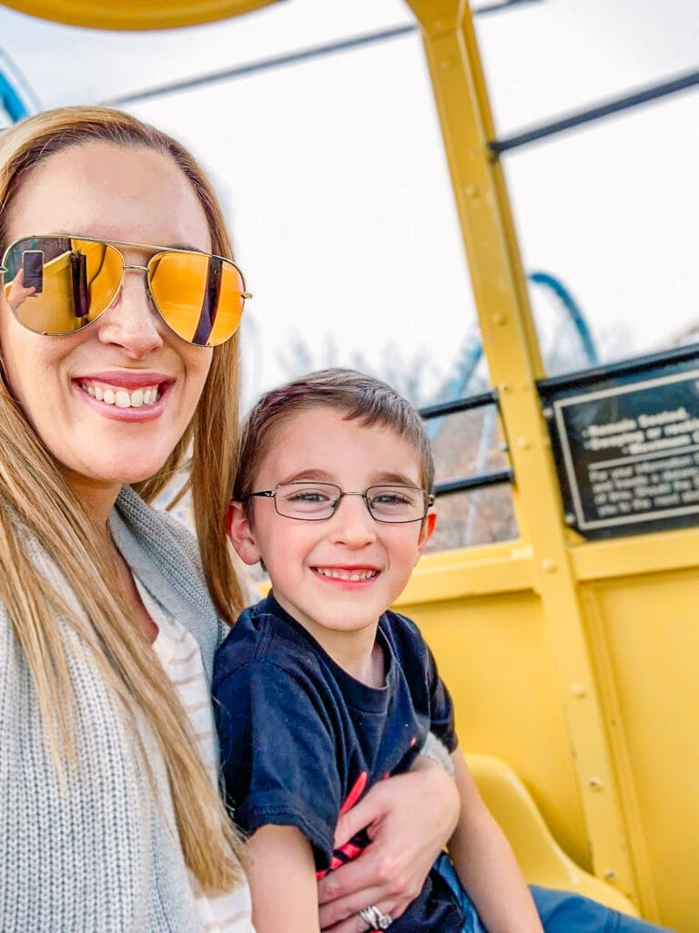 mom and son selfie on ride