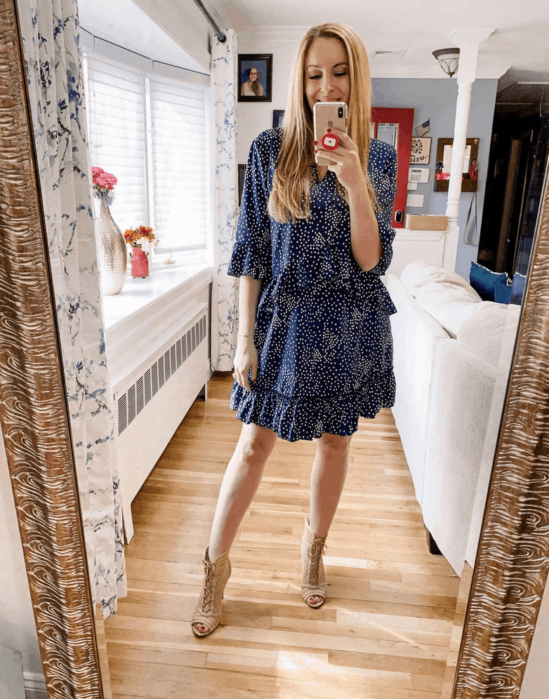 Ruffle Polka Dot Dress For Spring