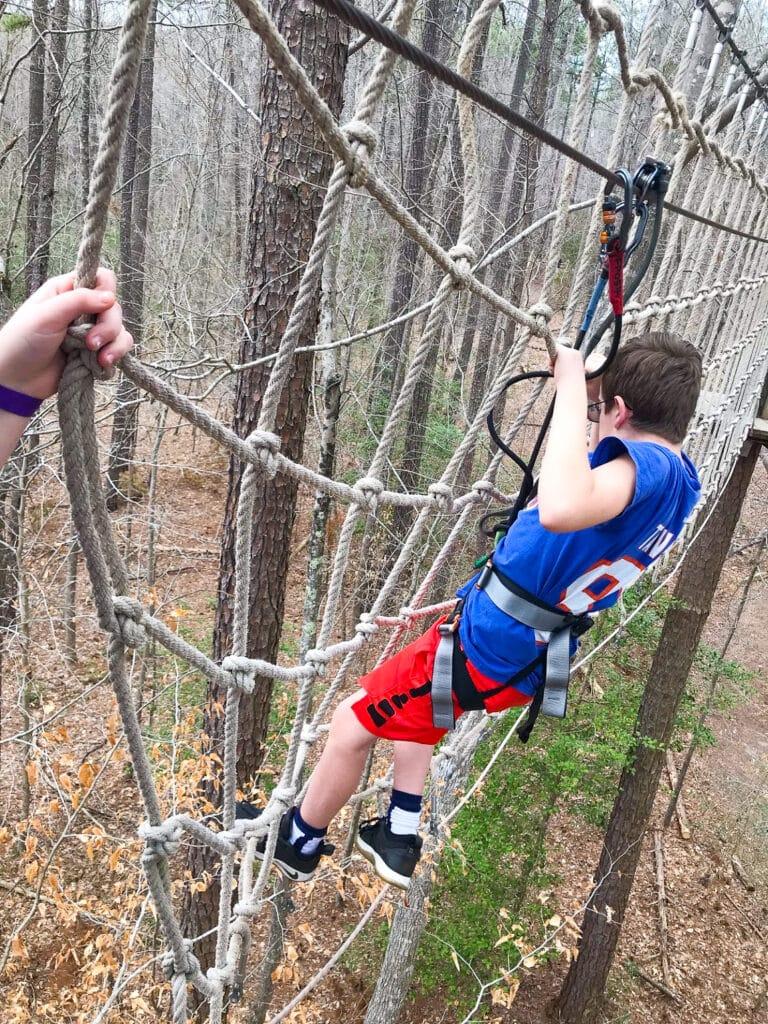 Teen on Go Ape Zip Line Course Virginia