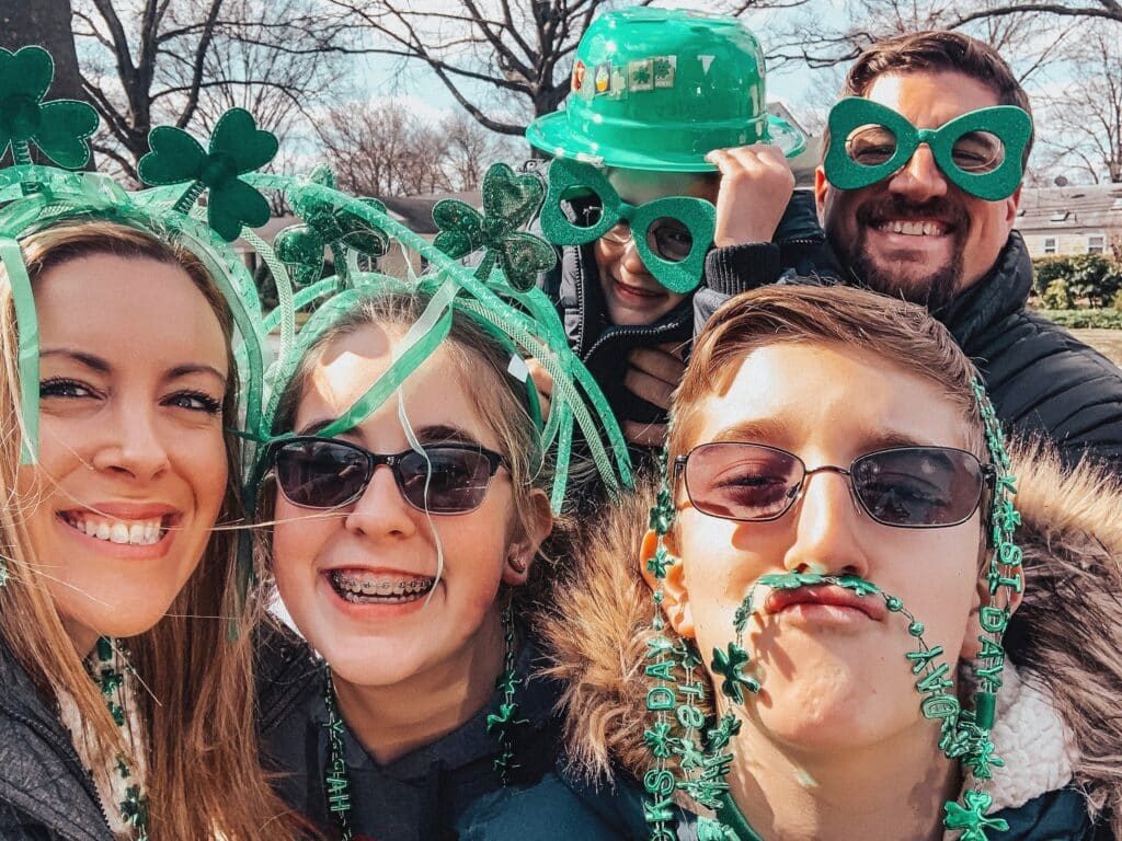 Vera Sweeny and her family celebrating St. Patrick's Day
