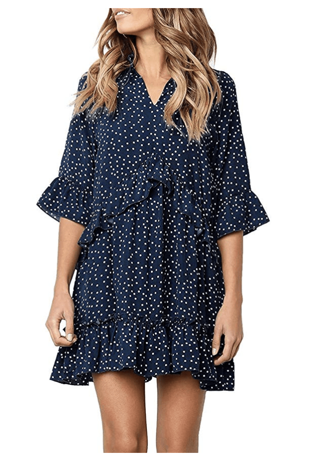 Navy Ruffle Polka Dot Dress For Spring