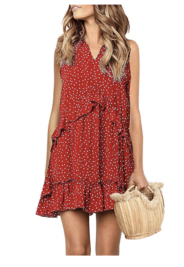 Red Sleeveless Polka Dot Dress