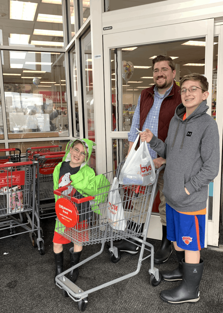 father and sons at CVS