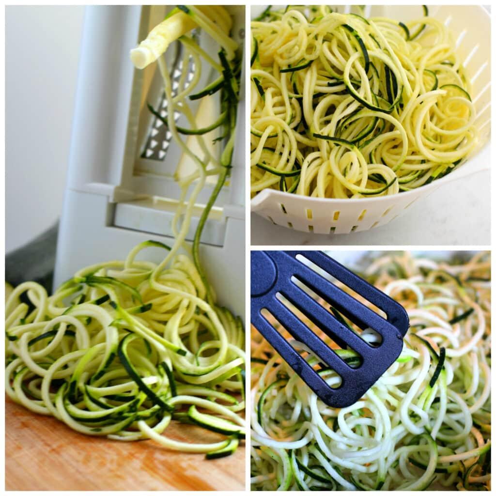 Cutting zucchini with spiralizer