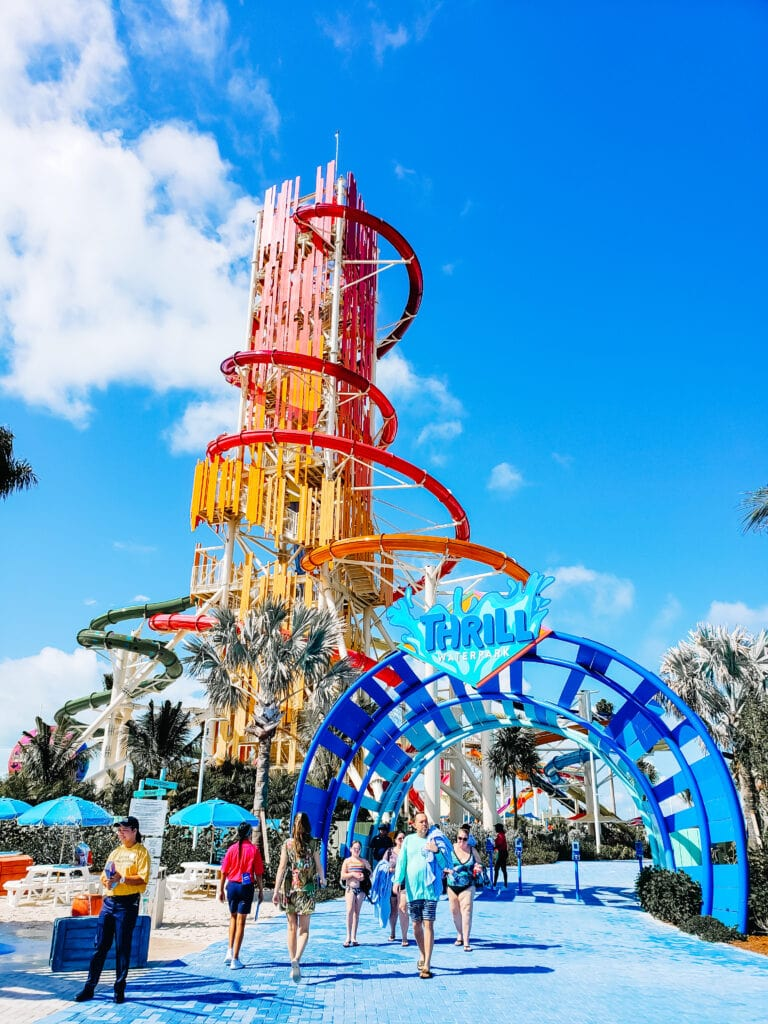 Water slides on CocoCay Island