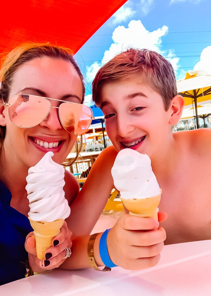 family sharing ice cream together on Royal Caribbean cruise
