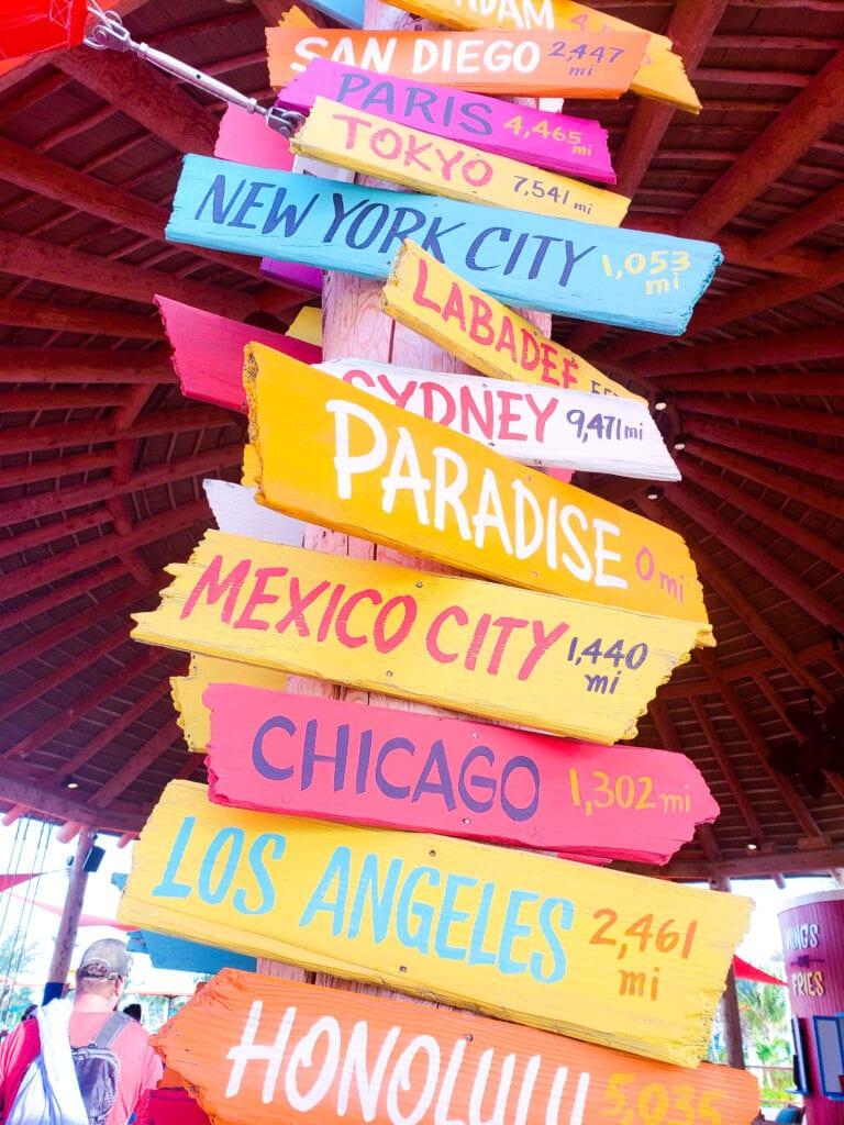 location sign paradise travel