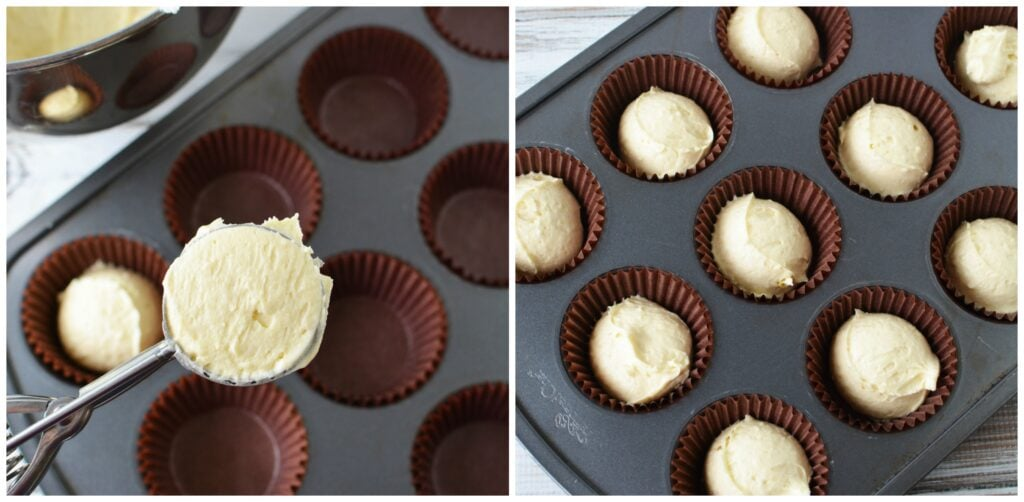 scoop maple bacon cupcakes into fillers