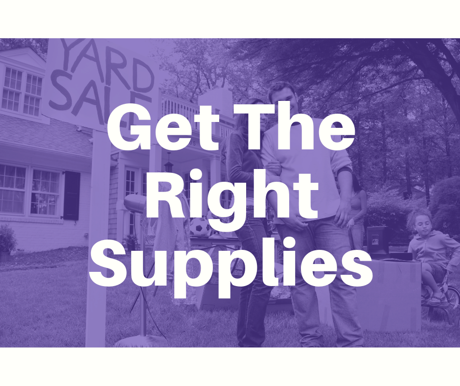 buying supplies for your yard sale