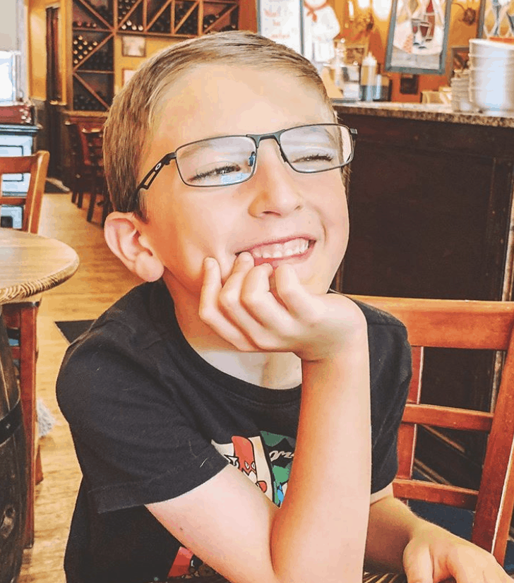 son in glasses