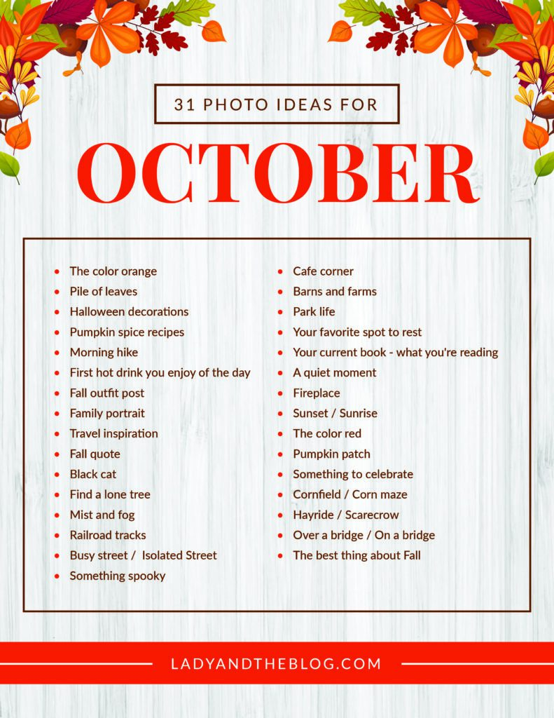 Fall Photography Ideas - Photo Challenge