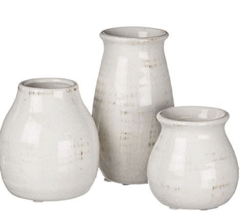 small white vases