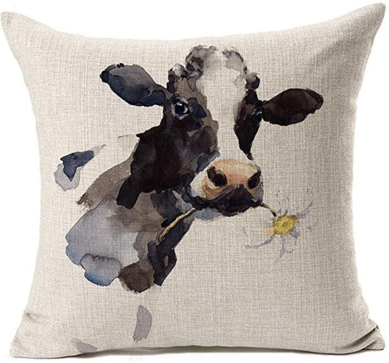 farmhouse cow throw pillow