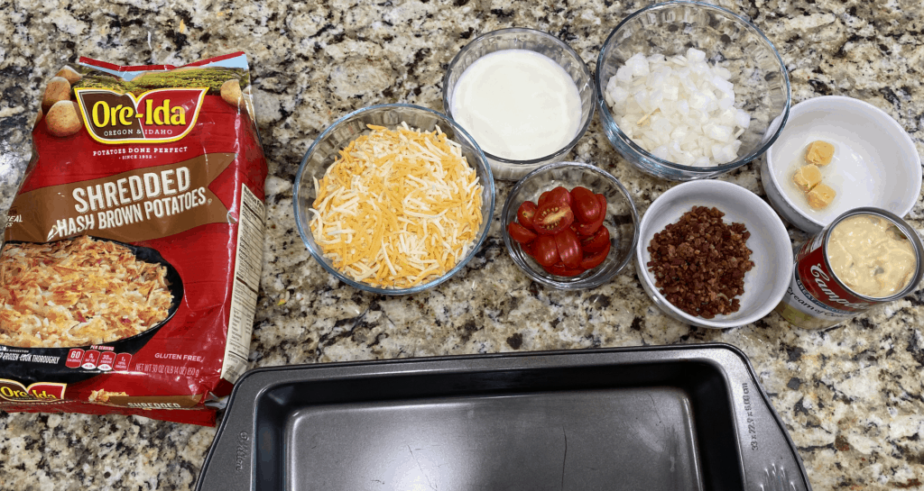 ingredients for cheese casserole with bacon