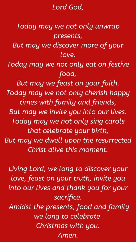 simple prayer for christmas dinner