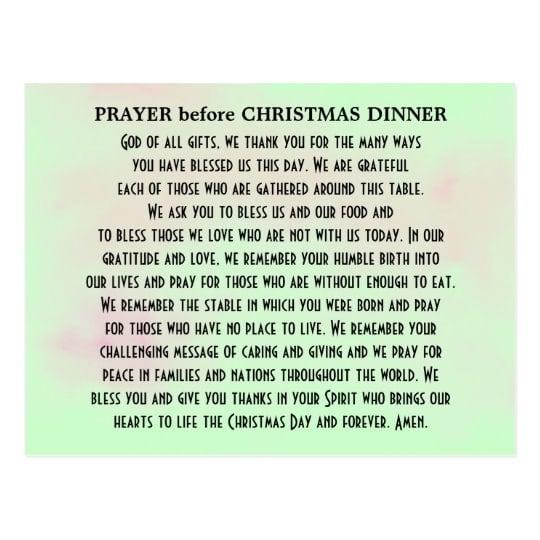 christmas dinner prayers for family