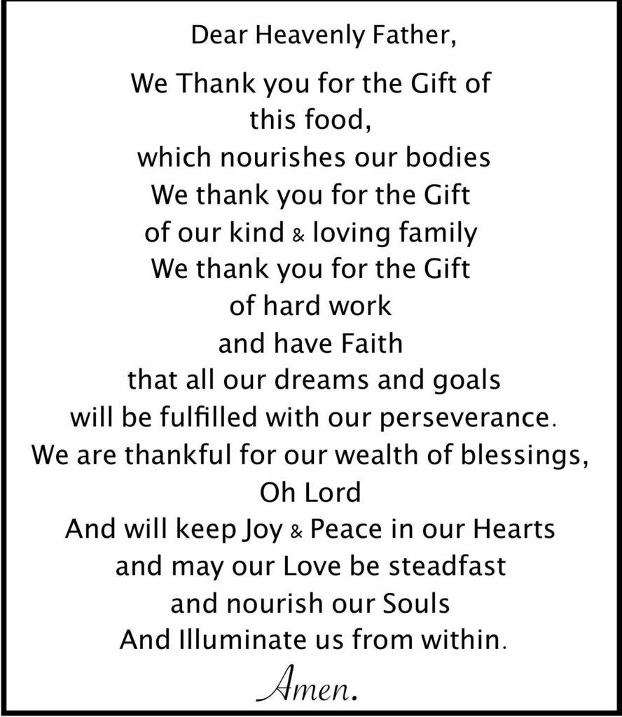a good family dinner prayer