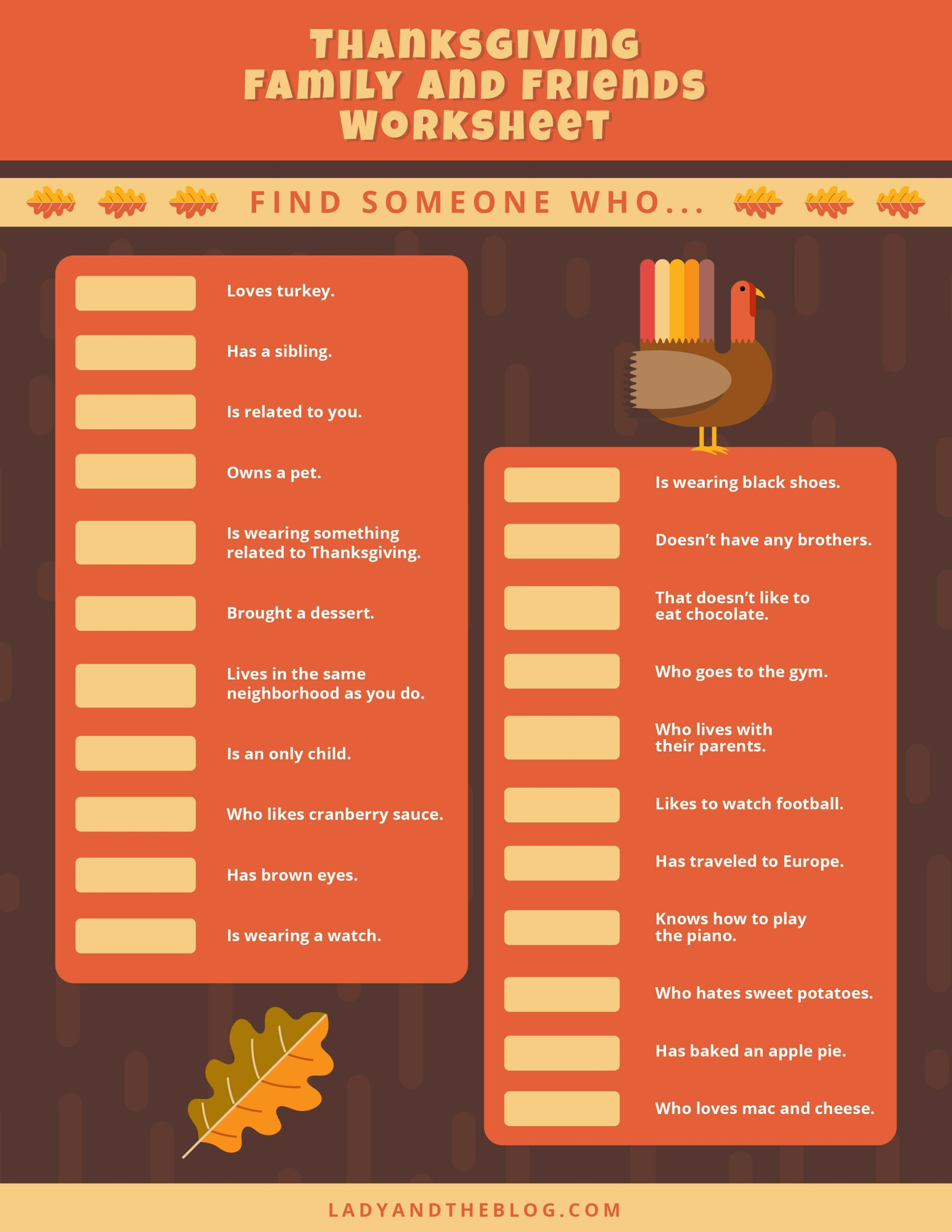 Thanksgiving Worksheet For Kids