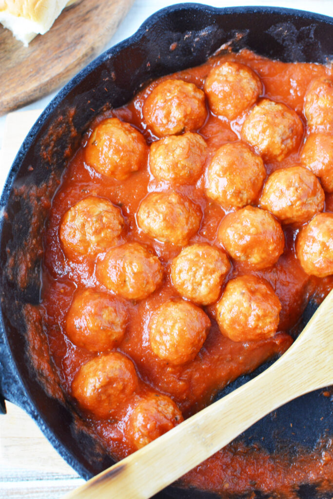 meatballs and sauce in pan