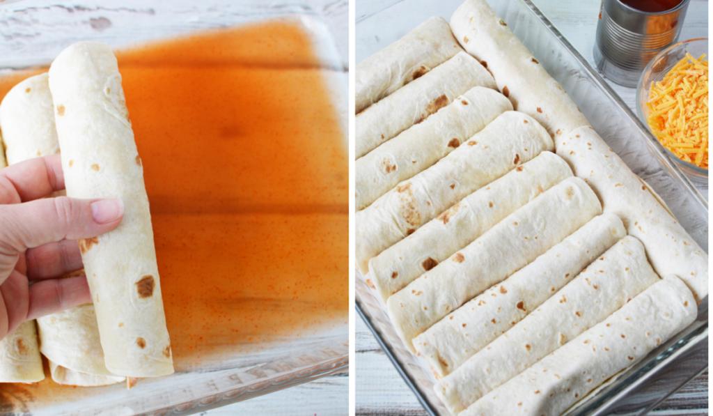 roll tortilla in casserole dish