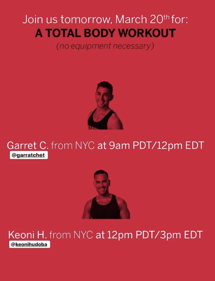 Barry's Bootcamp free on Instagram