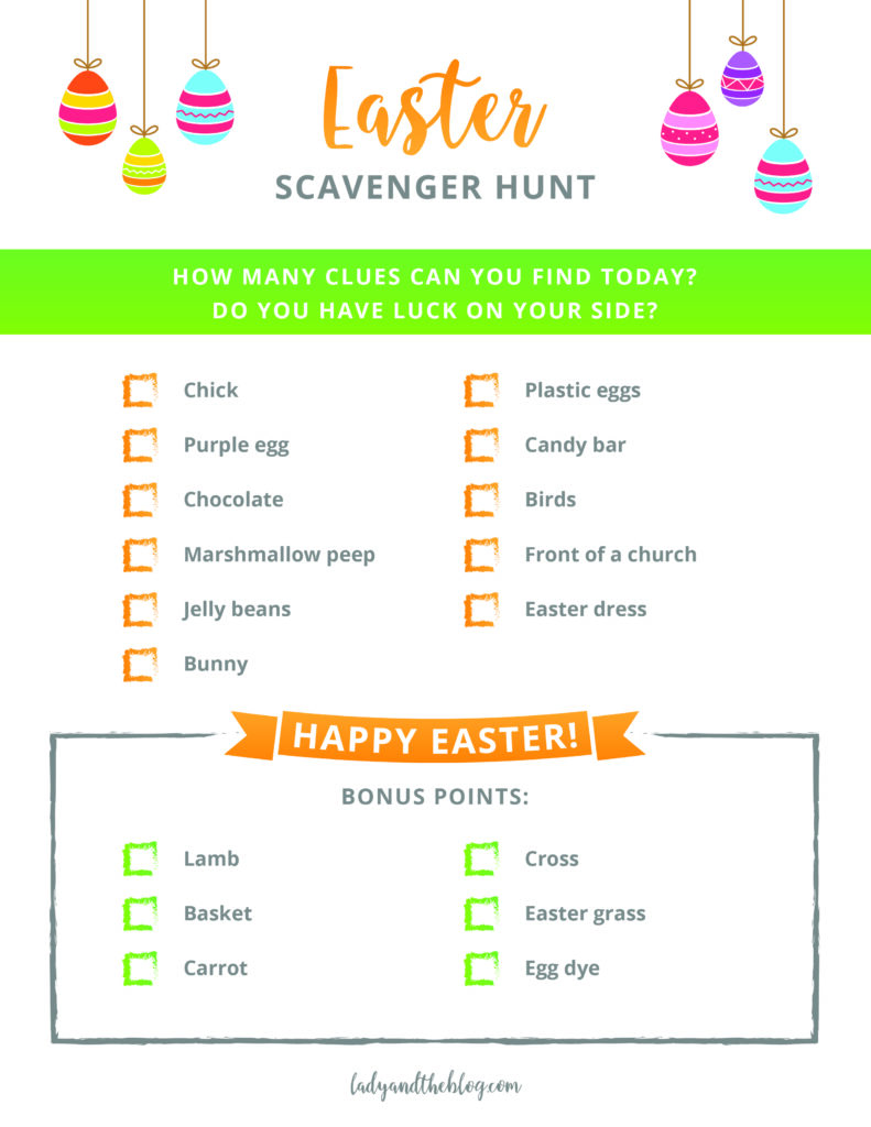 Easter Scavenger Hunt for kids