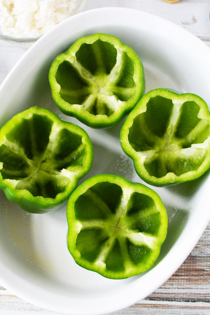 cut up green peppers