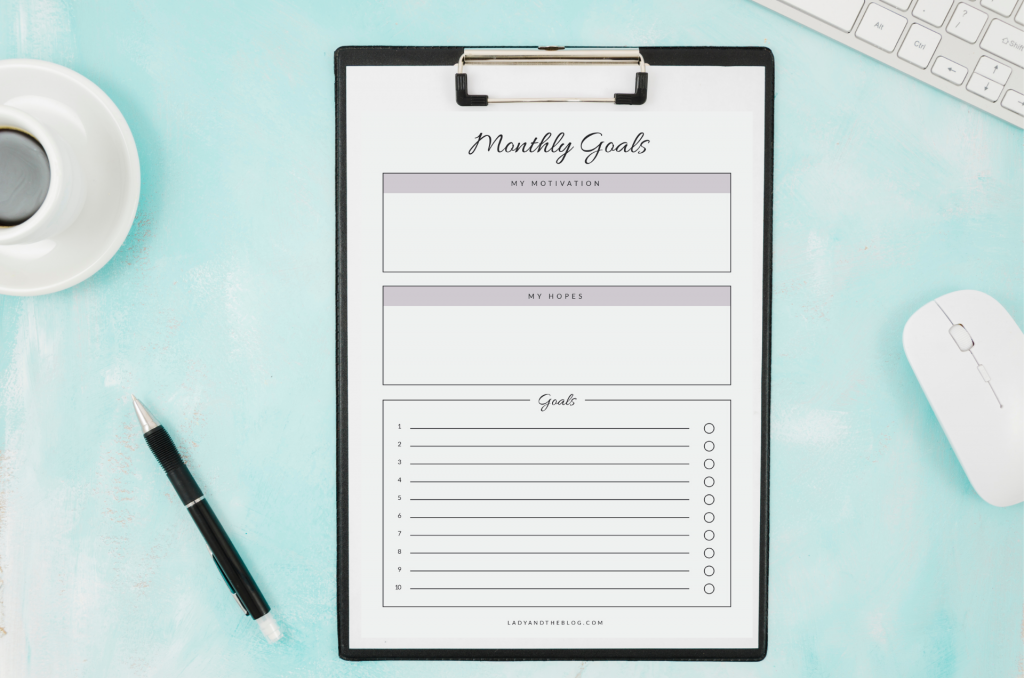 printing a monthly goal template