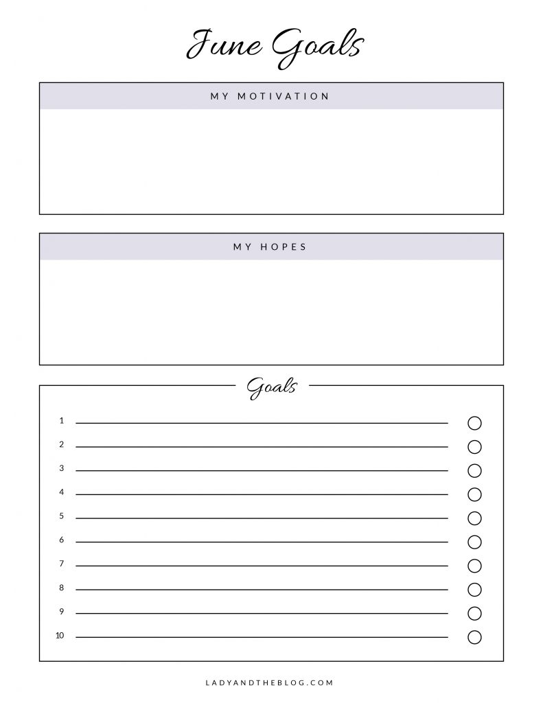 june goals worksheet