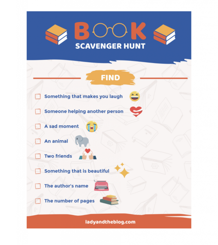 book club scavenger hunt for kids